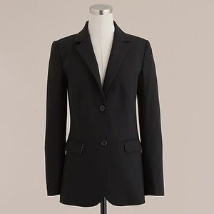 J. Crew Long Boyfriend Black Wool Blazer